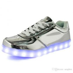 LED SHOES Low Plateadas